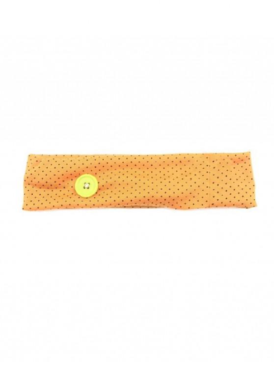shop Pin Dot Print Fitness Elastic Button Headband - DARK ORANGE
