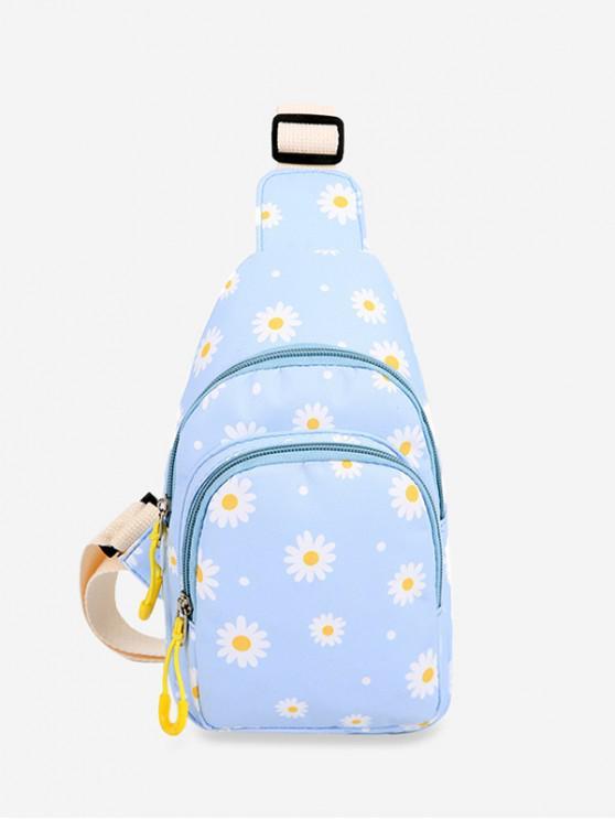 outfits Daisy Flower Print Crossbody Bag - LIGHT BLUE