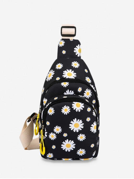 hot Daisy Flower Print Chest Bag - BLACK