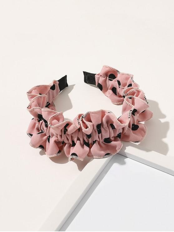 women's Spotted Print Ruffled Headband - LIGHT PINK