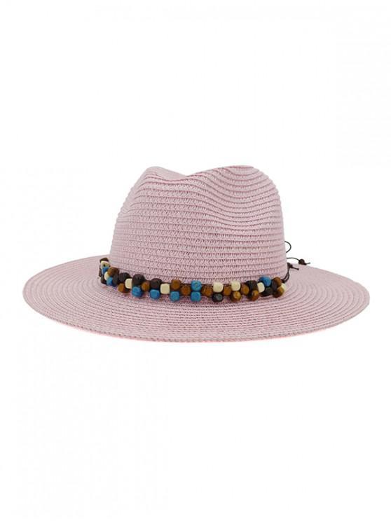 fancy Beaded Embellished Jazz Straw Hat - HOT PINK