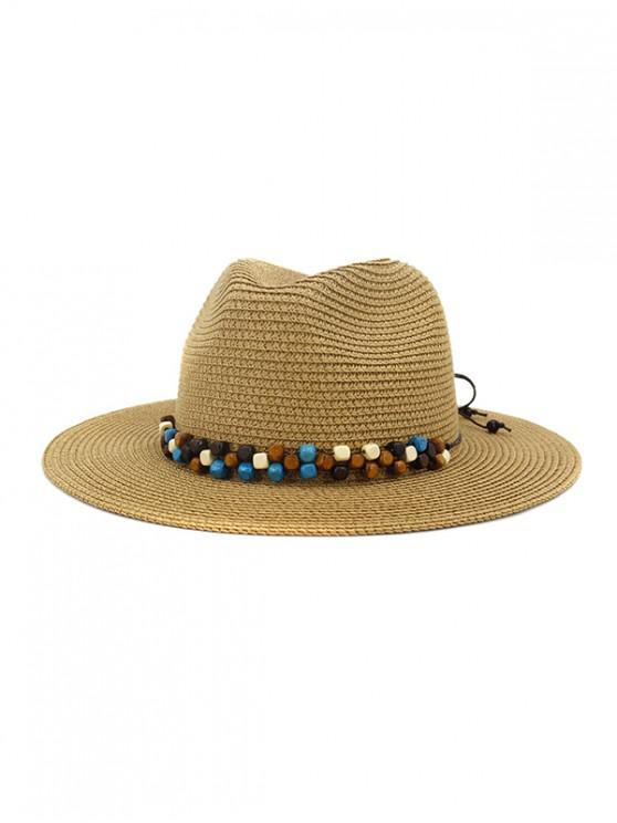 affordable Beaded Embellished Jazz Straw Hat - KHAKI