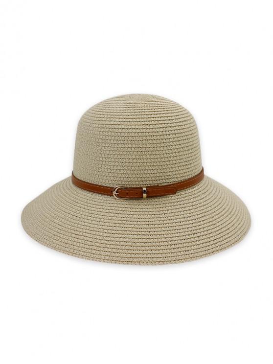 outfit Contrast Belt Wide Brim Straw Hat - BEIGE