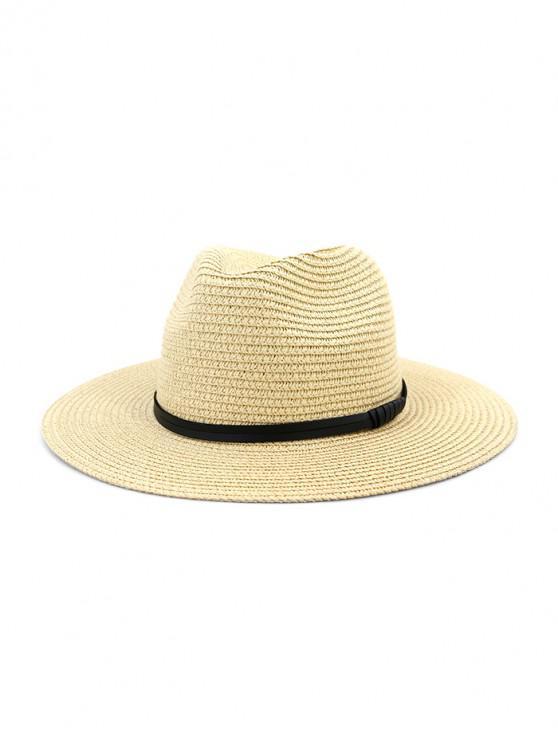 shop Jazz Straw Hat With Leather Detail - BEIGE