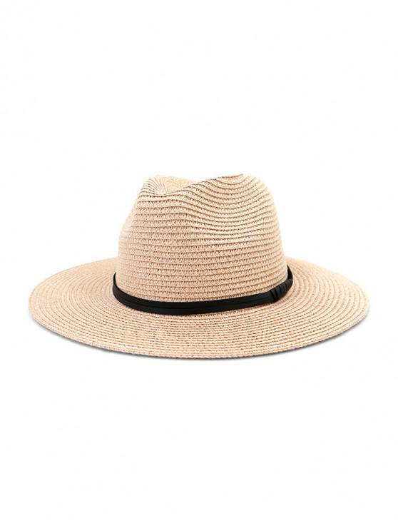 latest Jazz Straw Hat With Leather Detail - LIGHT PINK