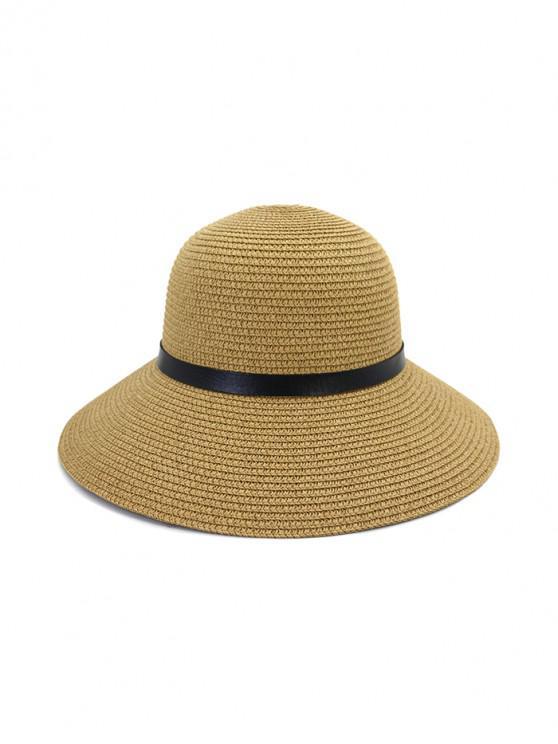 fashion Wide Brim Straw Hat With Leather Detail - KHAKI