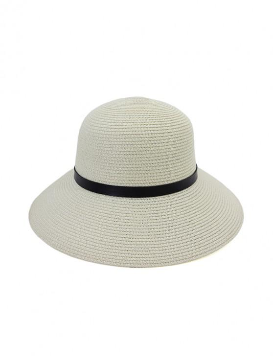 Wide Brim Straw Hat With Leather Detail - أبيض