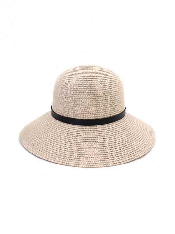 sale Wide Brim Straw Hat With Leather Detail - LIGHT PINK