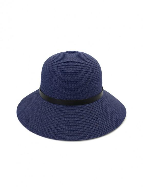 affordable Wide Brim Straw Hat With Leather Detail - CADETBLUE
