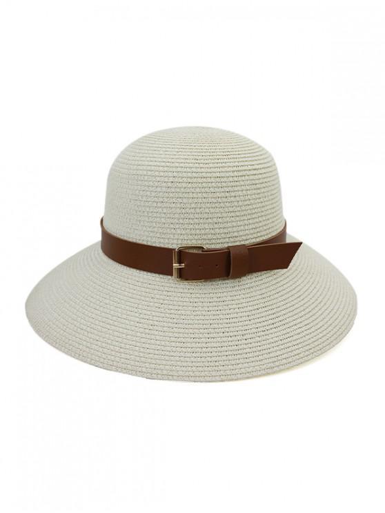 womens Wide Brim Straw Hat With Wide Belt - WHITE