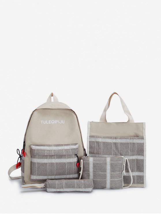 online 4Pcs Retro Plaid Pattern Student Backpack Set - GRAY
