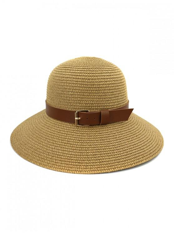 Wide Brim Straw Hat With Wide Belt - كاكي