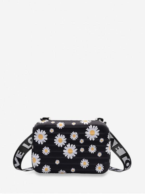 Daisy Printed Box Crossbody Bag - أسود