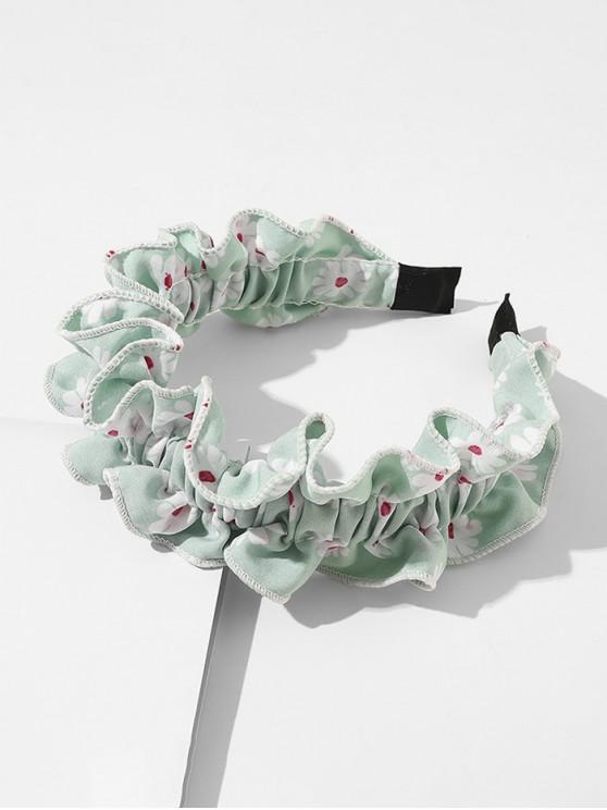 Daisy Print Ruffled Headband - Verde deschis