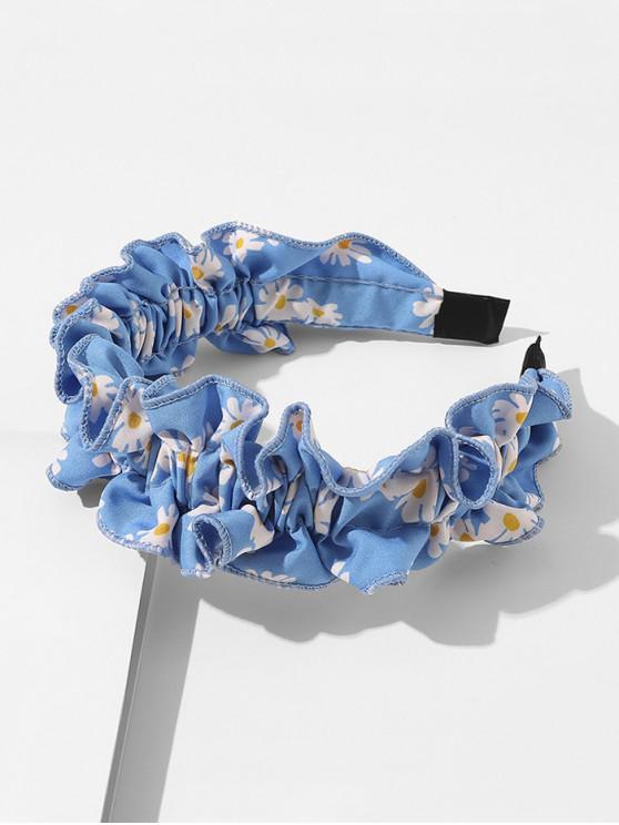 shop Daisy Print Ruffled Headband - BLUE
