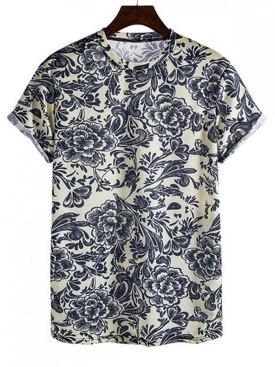 chic Chinese Style Flower Print Rolled Sleeve Crew Neck T Shirt - PLATINUM 3XL