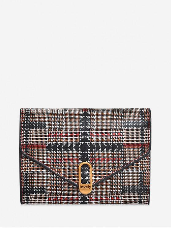 womens Plaid Geometric Tri-fold Wallet - RED