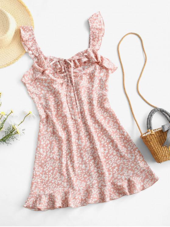 ZAFUL Mini Robe Fleurie Imprimée à Volants - Rose M