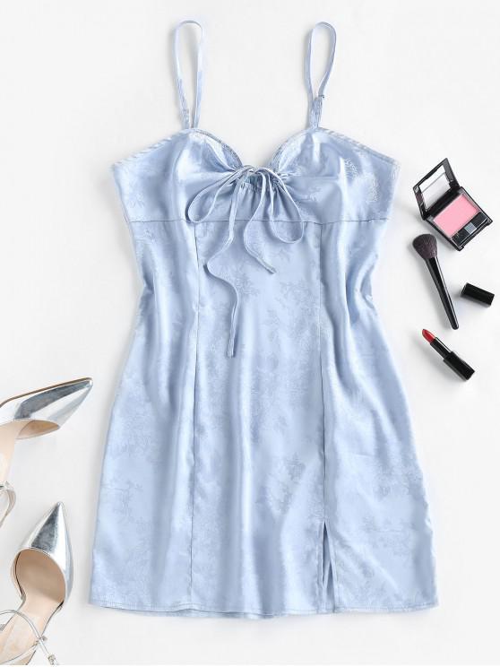 outfits ZAFUL Flower Jacquard Slit Bowknot Backless Dress - LIGHT BLUE M