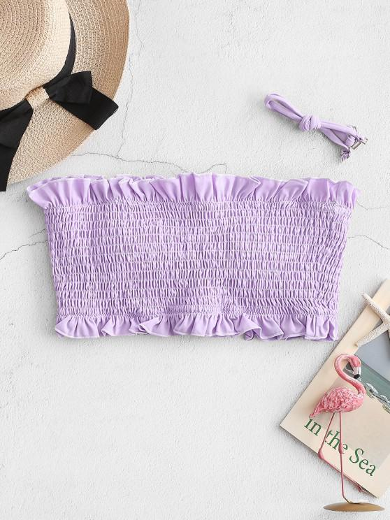 ZAFUL Frilled Smocked Bandeau Bikini Top - ضوء ارجواني M