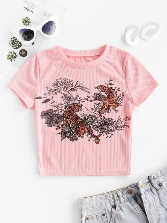 trendy Tiger Floral Print Ribbed Crop Tee - PINK S