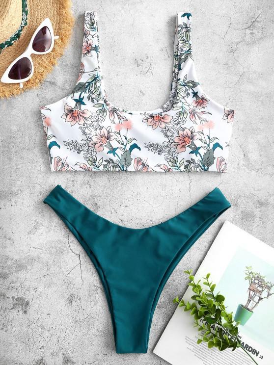 ladies ZAFUL Awakening Matching Desire High Cut Bikini - GREENISH BLUE S