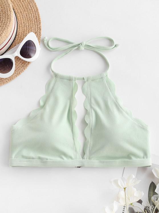 latest ZAFUL Ribbed Scalloped Cutout Halter Bikini Top - MINT GREEN S