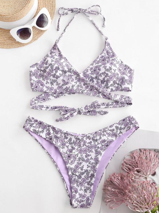 ZAFUL Floral Halter Wrap Bikini Swimwear - ضوء ارجواني S