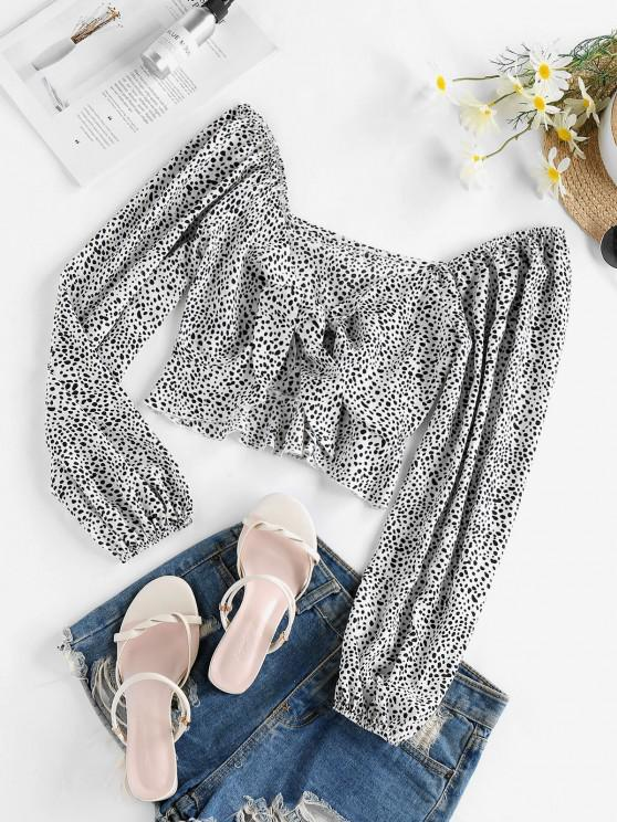 outfit ZAFUL Tie Front Cow Print Crop Blouse - WHITE L