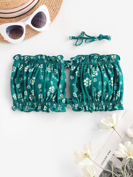 best ZAFUL Ditsy Print Tie Bandeau Bikini Top - MEDIUM SEA GREEN S