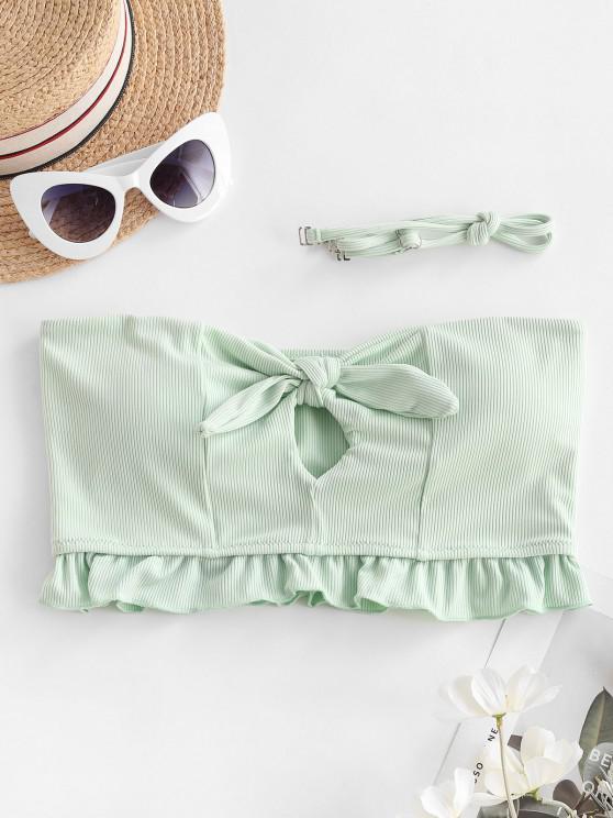 women's ZAFUL Ribbed Tied Keyhole Ruffle Bikini Top - MINT GREEN S