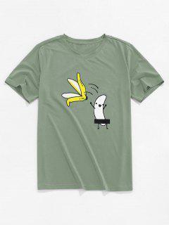 ZAFUL Cartoon Banana Basic T-shirt - Light Green L