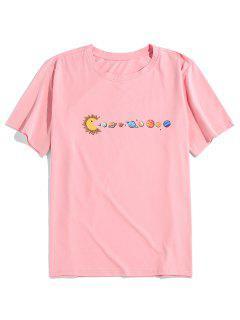 ZAFUL Planet Printed Short Sleeves T-shirt - Pink Xl