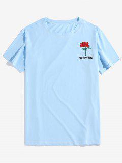 Maglietta Ricamata Rosa Con Maniche Corte - Azzurro 2xl