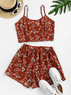Ditsy Print Smocked Wide Leg Shorts Set - Red M