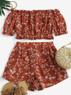 Cropped Ditsy Floral Off Shoulder Two Piece Set - Red M