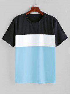 ZAFUL Color Spliced Short Sleeves T-shirt - Day Sky Blue Xl