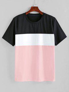 ZAFUL Farbe Gespleißter T-Shirt Mit Kurzen Ärmeln - Schwein Rosa L