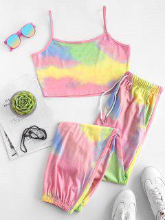 ZAFUL Tie Dye Pocket Drawstring Jogger Pants Set - Light Pink L