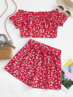 ZAFUL Belted Ditsy Floral Off Shoulder Two Piece Set - Red M