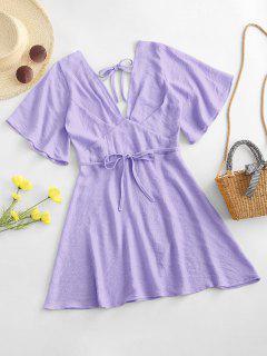 Robe Texturée Plongeante Nouée Ouverte Au Dos - Violet Clair Xl