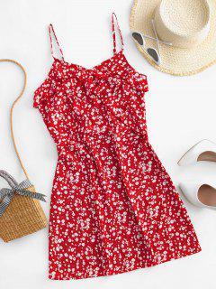 ZAFUL Mini Robe Fleurie à Bretelle à Volants - Rouge L