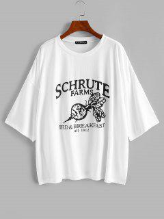 T-shirt Tunique Lettre Graphique à Goutte Epaule Surdimensionné - Blanc M