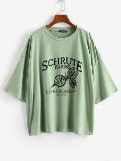 Letter Graphic Oversized Drop Shoulder Tunic Tee - Light Green S