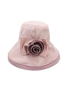 Bowknot Wide Brim Bucket Hat - Light Pink