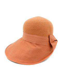 Back Bowknot Wide Brim Basin Straw Hat - #001