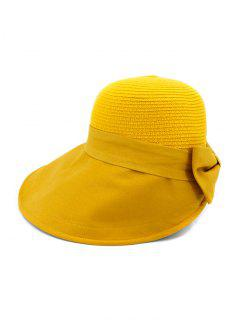 Back Bowknot Wide Brim Basin Straw Hat - Yellow