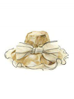 Chapeau Seau Fleuri Design Avec Nœud Papillon - Beige