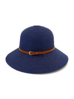 Sombrero De Paja Ancha Con Borde De Contraste Con Cinturón - Cadetblue