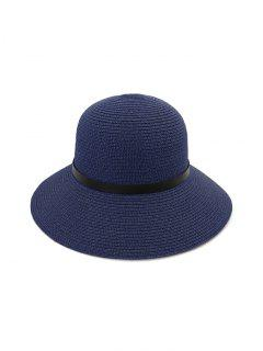 Wide Brim Straw Hat With Leather Detail - Cadetblue